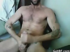 Tattooed Hairy Hunk Masturbating part4
