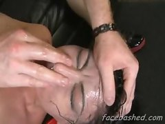 Whore gets mouth smashed with a cock as she gags