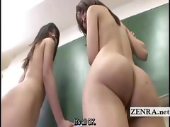 Japanese nudist schoolgirls clean class with subtitles