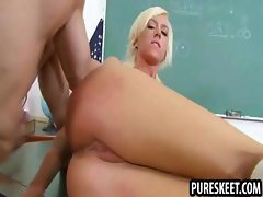Blonde schoolgirl stays after class for a fuck