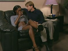 Hot ebony chick seduced by horny white male