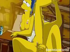 In a log cabin out in the woods, Marge and Homer have a night of passionate sex