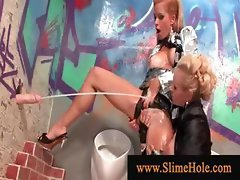 Lesbian blonds sprayed with bukkake sperm at the glory hole
