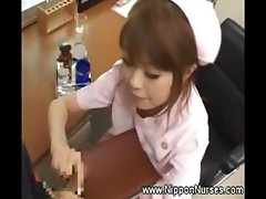 Asian nurse uniform handjob