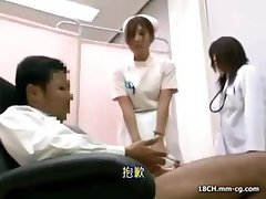 Censored clip of a young and sweet Japanese nurse  jacking off a patient