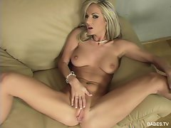 Lonely babe Vanessa Cooper masturbates her big titted body to orgasm