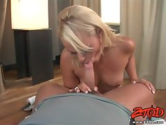 Ellen Saint giving bows on a hot stud and warm blow job