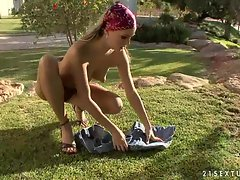 Addicted to sex Blue Angel gets out in nature naked and crazy