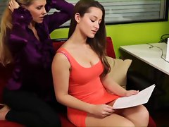 Julia Ann and Dani Daniels mix business with pleasure during a work fuck