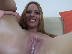 Hot nut is left oozing out of the crack of dirty Lauren Vaughn