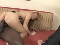 Nicole Moore eagerly jumps on top of the big black cock and rides