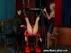 Domina instructing her sissy servant