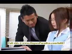 Risa Kasumi Sexy office worker enjoys fucking her co workers