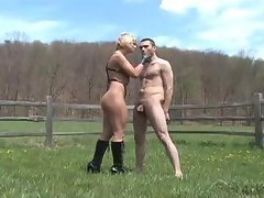 Ballbusting Session Outdoors