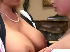 Big titted blonde mother and daughter enjoying hot threesome