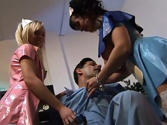 Hot nurses Kristi Love and Diana Gold share a cock