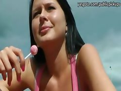 Big boobs black haired Czech girl pounded in public for money