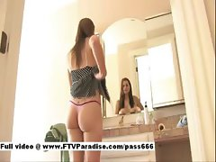 Amazing blonde slut in front of mirror