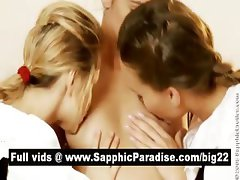 Angelic brunette and blonde lesbos kissing and getting naked in a three way lesbo orgy