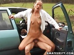 Mature amateur wife outdoor hardcore action