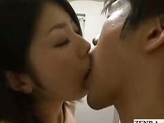 Japanese nudist office deep kiss handjob