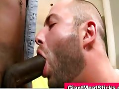 Interracial bear deep throats big cock