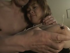 Asian pornstar gets her big natural tits tied up