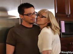 Nina hartley fucks sons friend in the kitchen