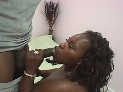 Naughty ebony fatty bends hard to welcome monster black dick