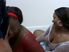 Voluptuous big boobies ebony charmers sharing muscled hunk cock
