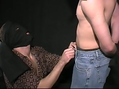 Masked boys enjoy in cruel games with hard blowing on hammer dick