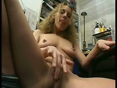 Horny blonde bitch masturbating on her office