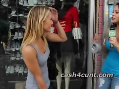 Skinny hot blonde cash to get naked in public and show off her pussy