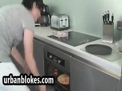 British hunk is at the kitchen and strips to masturbate