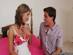Tight young Presley Hart is visiting her friend but fucks friends brother