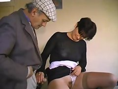 French old man Papy and the waitress gangbang