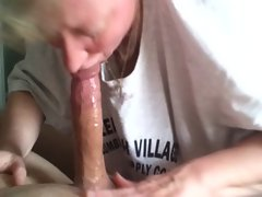 Hot Russian Milf sucks a hard cock like a pro
