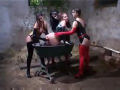 Lesbian latex foursome in the farm house