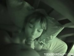 Night vision blowjob with a teenage cutie