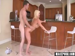 Milf Blonde Fucked in Kitchen
