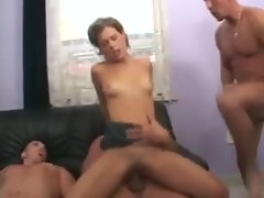 Horny anal girl here to service three dicks
