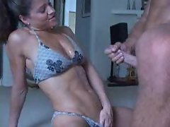 Fit babe in bikini sucks him and gets cumshot