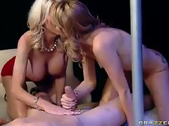 The two hot milfs share his big cock