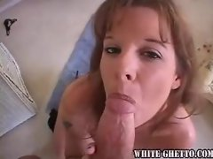Naughty milf blows dick before getting pounded