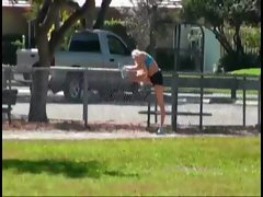 Busty blonde spied on during her workout and goes home with guy