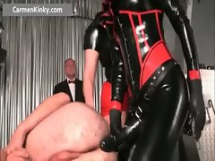 Sexy Carmen in exciting latex stuffing