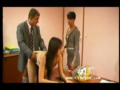 Lucky Boss Gets Three Sluts To Suck His Cock In His Office TAG swinger milf secretary group porn off