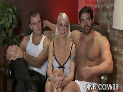 Hot pretty girl ass fucked and dominated in bondage