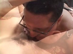 Guy in collar obeys mature dominant bitch