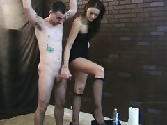 Alexis jerks him off on her leg while he&amp,#039,s tied up.